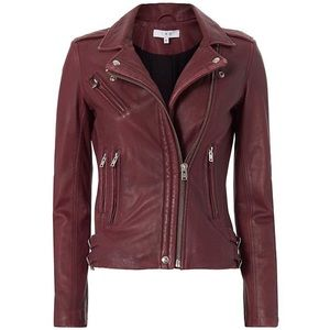 Iro Han Burgundy Leather Jacket sz 38 intermix